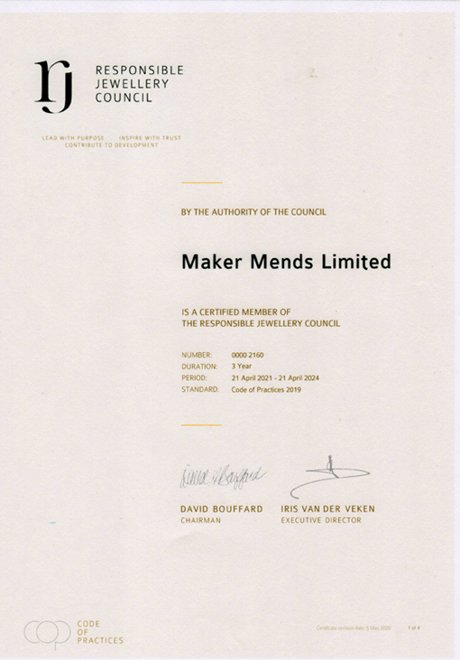 Reponsible Jewellery Council Certificate
